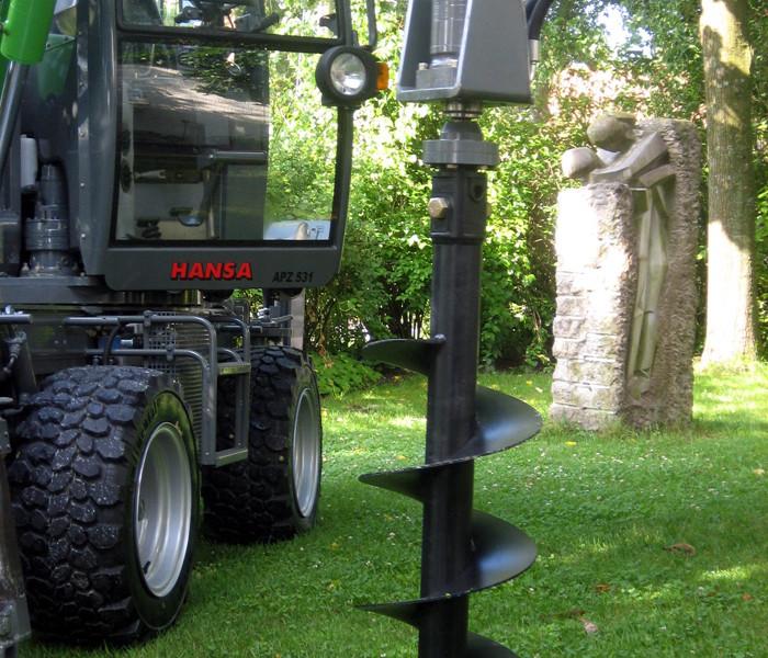 Hydraulisch angetriebener Erdbohrer - Bohrschnecke 350 mm Durchmesser