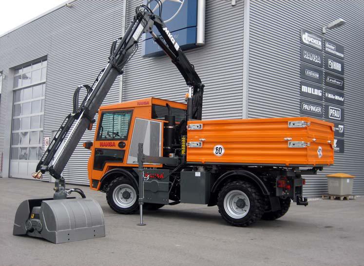 Ladekran mit hydraulischem Ausschub sowie Erdgreifer 760 x 900 mm